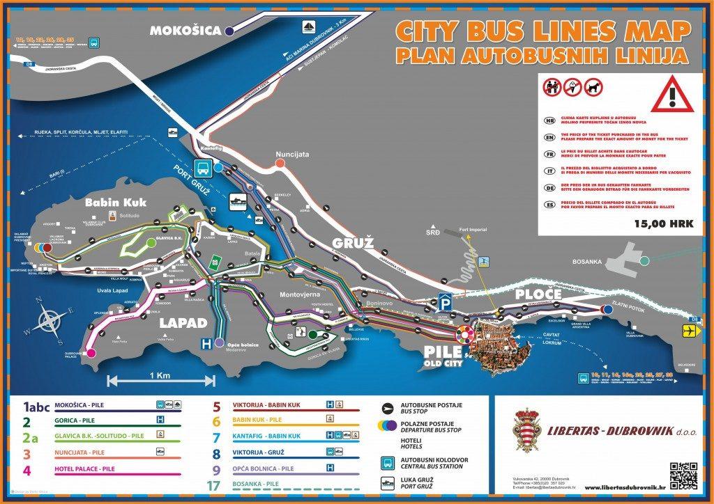 Mapa de los autobuses de Dubrovnik
