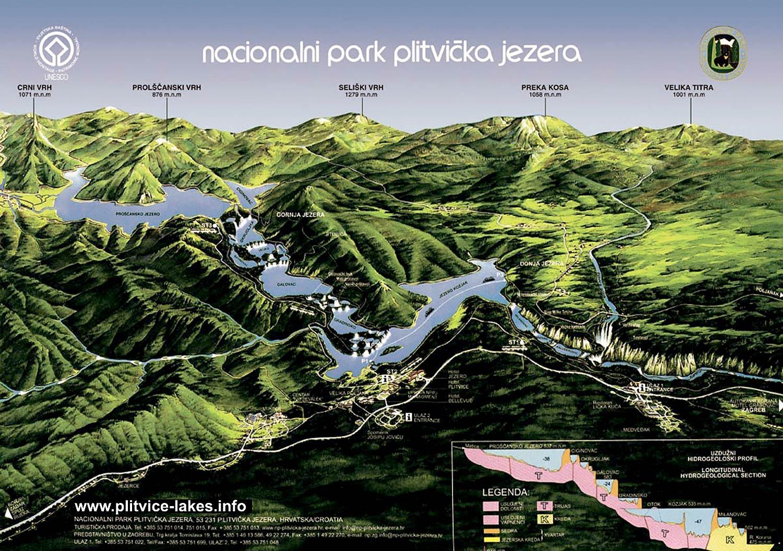 Mapa de los lagos del parque nacional de Plitvice en Croacia