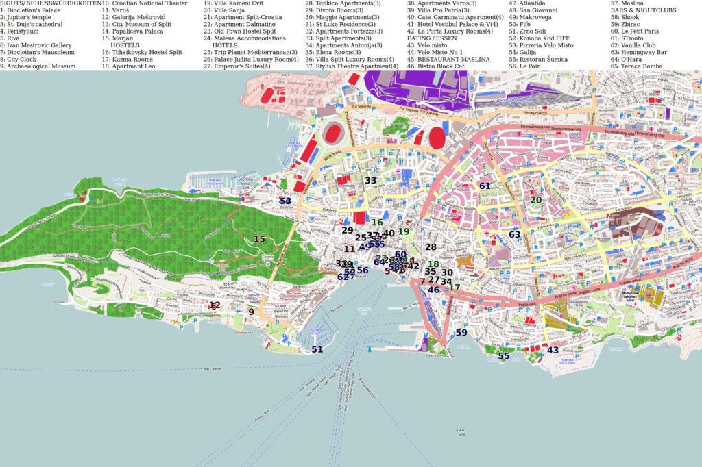 Mapa con los lugares de Interés en Split