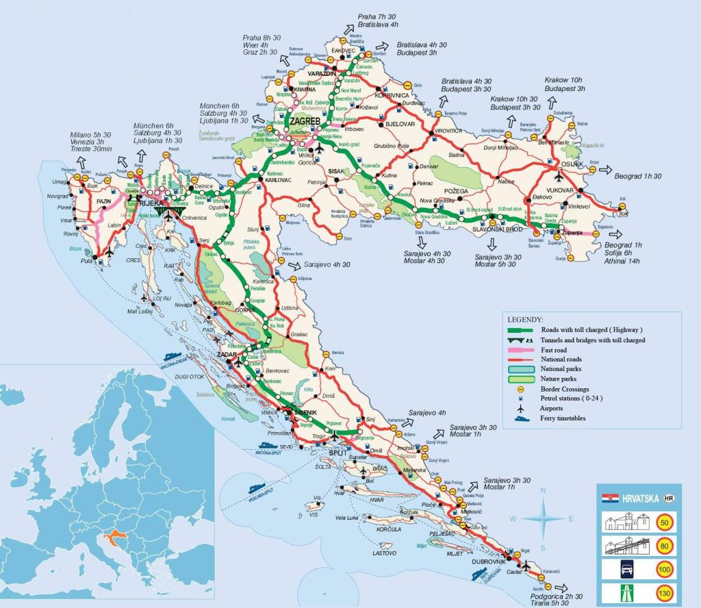 Mapa de las carreteras de Croacia