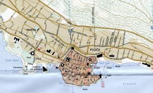 Mapa de Dubrovnik y alrededores