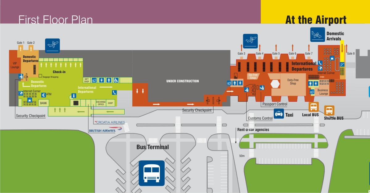 Plano del aeropuerto de Dubrovnik